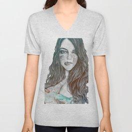 U-Turn: Rainbow (mandala tattooed woman, drawing portrait) Unisex V-Neck