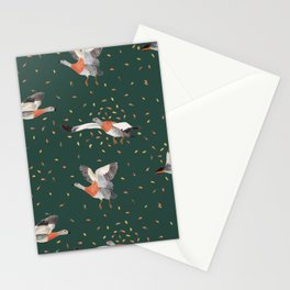 Hand painted ducks flying in autumn Stationery Cards