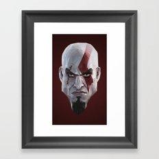 Triangles Video Games Heroes - Kratos Framed Art Print