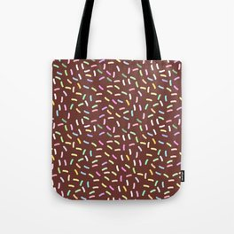 chocolate Glaze with sprinkles. Brown abstract background Tote Bag