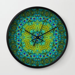 Peacock Feathers - Blue Wall Clock