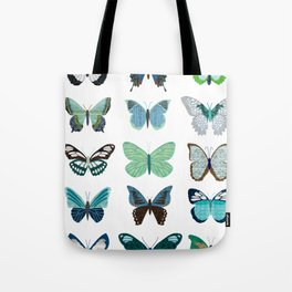 Green and Blue Butterflies Tote Bag