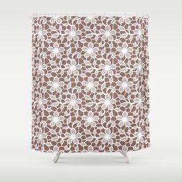 White Lace Seamless Pattern. Shower Curtain