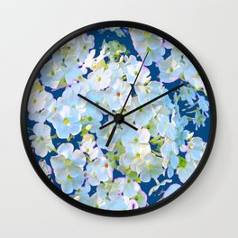 DELICATE TEAL & WHITE LACE FLORAL GARDEN Wall Clock