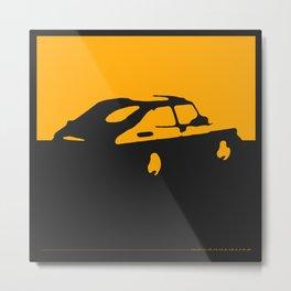 Saab 900 classic, Yellow on Black Metal Print