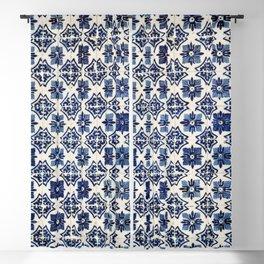 Vintage Blue Ceramic Tiles Blackout Curtain