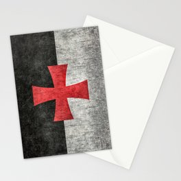 Knights Templar Flag in Super Grunge Stationery Cards