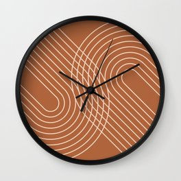 Geometric Lines in Earthy Shades Wall Clock