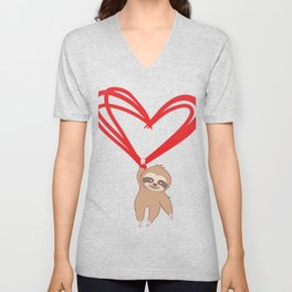 Happy Sloth Valentine's Day T-shirt Design Heart Love Marriage Couple Relationship Anniversary Wife Unisex V-Neck