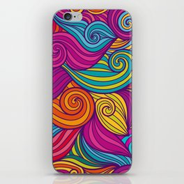 Vivid Whimsical Jewel Tone Retro Wave Print Pattern iPhone Skin