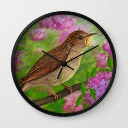 Spring nightingale Wall Clock