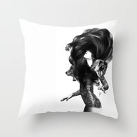 feathers Throw Pillows featuring Bear #3 by Jenny Liz Rome