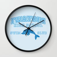 iwatobi Wall Clocks featuring Iwatobi - Dolphin by drawn4fans