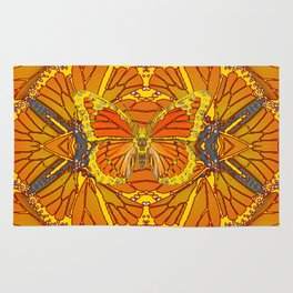 ORIGINAL ABSTRACT ART OF YELLOW-GOLD MONARCH BUTTERFLIES PUZZLE Rug