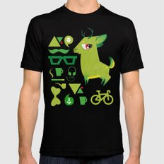 Hipsdeer (green) MEDIUM Black Mens Fitted Tee