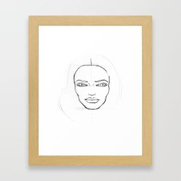 Contour drawing sketch of a female head Framed Art Print
