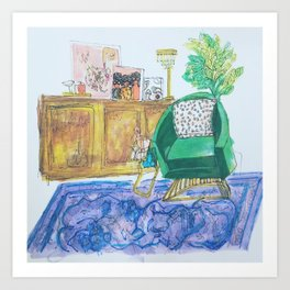 Green chair Art Print