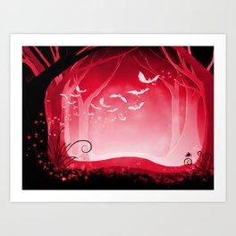 Dark Forest at Dawn in Ruby Art Print