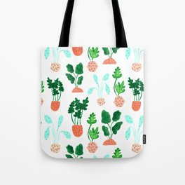 Painted Postmodern Potted Plants in White Tote Bag