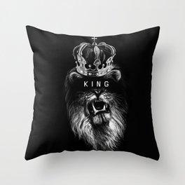 Lion, Lionart, King, Animal, Black,Minimal,Interior, Black White,Wall art, Art Print,Trendy decor Throw Pillow