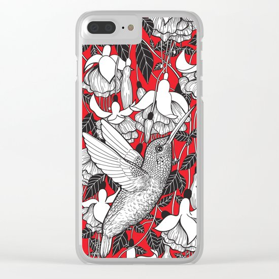 Hummingbird and fuchsia, red background Clear iPhone Case