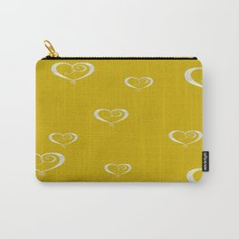 Polka Heart Party, Gold Carry-All Pouch