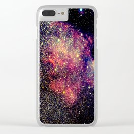 Pink & Blue Space Golden Sparkling Stars Clear iPhone Case