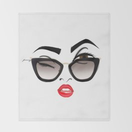Wink eye, red lips Throw Blanket