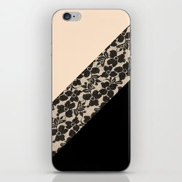 Elegant Peach Ivory Black Floral Lace Color Block iPhone Skin