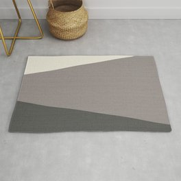 Tricolor Split Diagonally Geometric Grey Rug