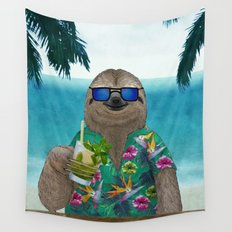 Sloth on summer holidays drinking a mojito Wall Tapestry