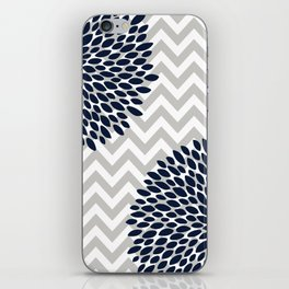 Chevron Floral Modern Navy and Grey iPhone Skin
