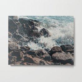 Splashing Waves on Rocks 01 Metal Print