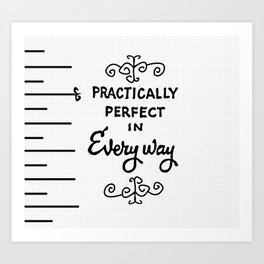 practically perfect in every way white ruler art print