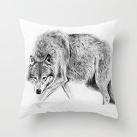 wolf Throw Pillows featuring Wolf by Anna Shell