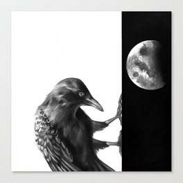 Crow and the Moon 3 Canvas Print
