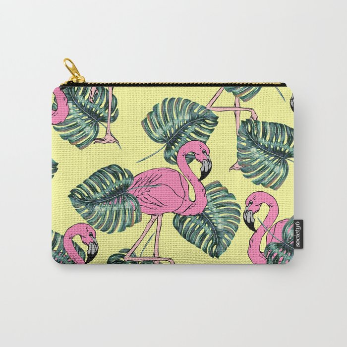 tropical leaves with flamingo Carry-All Pouch