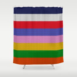 Knitted colorful stripes  Shower Curtain