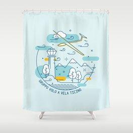 GVVT - Line art colors version Gruppo Volo a Vela Ticino Shower Curtain