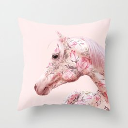 FLORAL HORSE Throw Pillow
