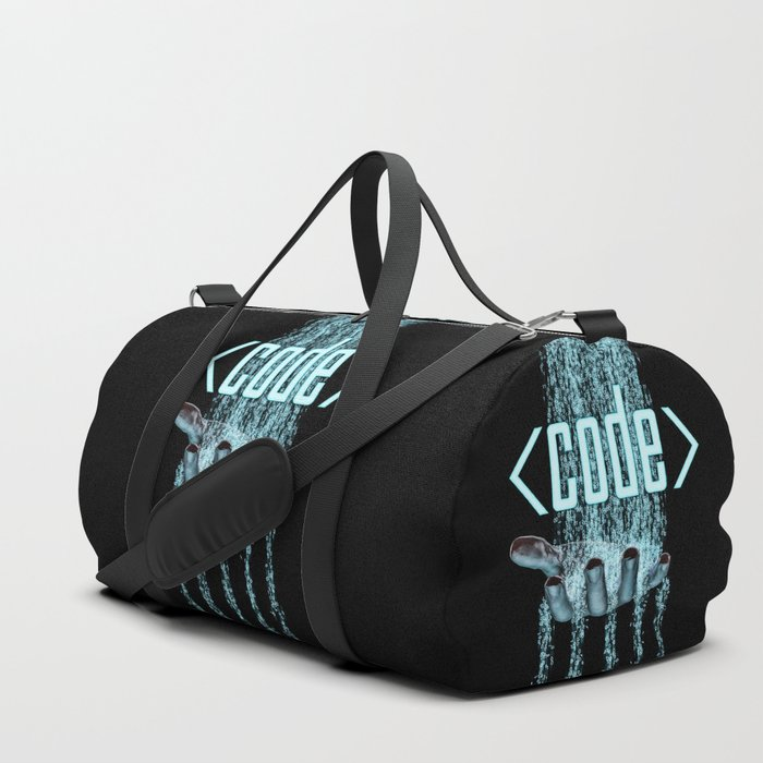 Code / 3D render of binary data flowing on to human hand Duffle Bag