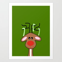 Christmas Reindeer Green Art Print