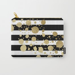 Faux Gold Paint Splatter on Black & White Stripes Carry-All Pouch