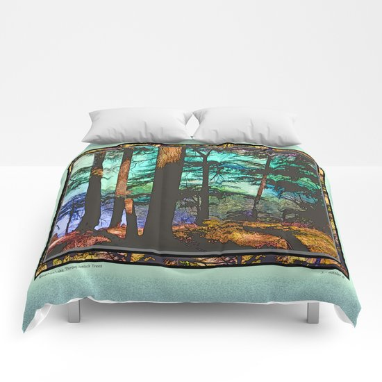 MOUNTAIN LAKE THROUGH HEMLOCK TREES Comforters