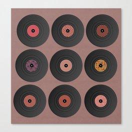 9 vinyl records. Canvas Print