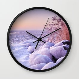 Frozen lake Markermeer, The Netherlands at sunrise Wall Clock