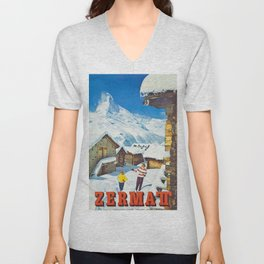 Zermatt, Switzerland Vintage Ski Travel Poster Unisex V-Neck
