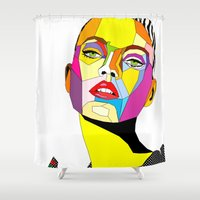 model Shower Curtains featuring Model by Floridana Oana