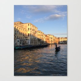 Grand Canal Sunset with Gondolier Canvas Print