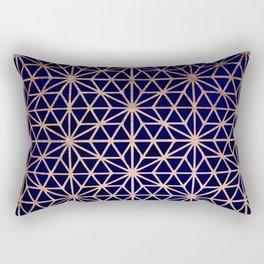 Modern rose gold stars geometric pattern Christmas navy blue watercolor Rectangular Pillow